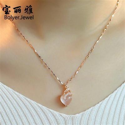 【买一送一】项链女锁骨链简约玫瑰金芙蓉石粉水晶吊坠彩金礼物