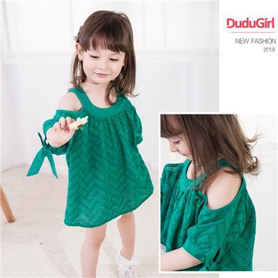 女童露肩衬衫短袖娃娃衫女宝宝夏装201新款童装吊带上衣儿童衬衣