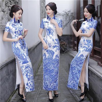 青花瓷旗袍长款优雅舞台走秀改良演出服中国风中式复古连衣裙女夏
