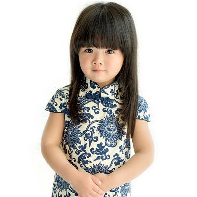 夏装新款儿童旗袍唐装 青花瓷女童短袖连衣裙 纯棉中式宝宝子裙