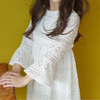 女童秋装连衣裙201新款长袖纱裙中大童中长款款白色公主儿童秋裙