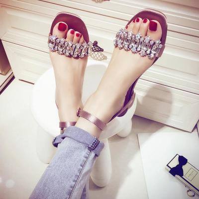 一字扣带水钻凉鞋女夏平底2018新款韩版百搭小清新露趾气质仙女鞋