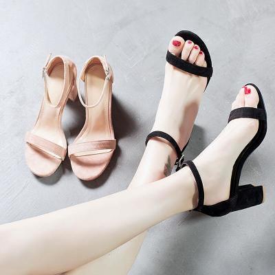 凉鞋女夏中高跟2018新款韩版百搭一字扣带粗跟工作学生小清新女鞋