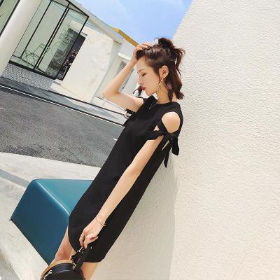 夏季女装冷淡风sukol裙子极简雪纺矮个子搭配娇小少女黑色连衣裙