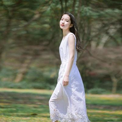文艺小清新刺绣纯棉无袖连衣裙夏白色绣花镂空宽松中长款背心裙女