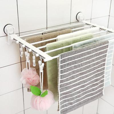 韩国卫生间挂毛巾的架子免打孔壁挂毛巾杆多杆多功能衣夹子晒衣架