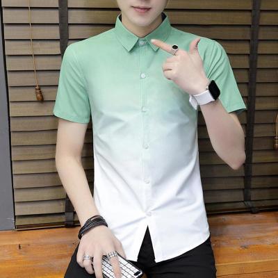 衬衫男短袖修身韩版潮流帅气学生休闲个性渐变色夏季男士薄款寸衣