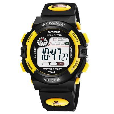 时诺刻 电子表 男孩 夜光防水男女中小学生运动多功能 儿童手表彩