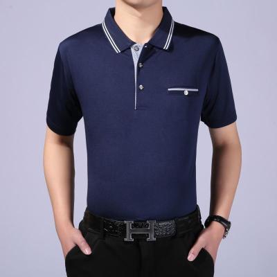 中年男士短袖t恤翻领加肥加大码宽松纯色爸爸装中老年汗衫半袖夏