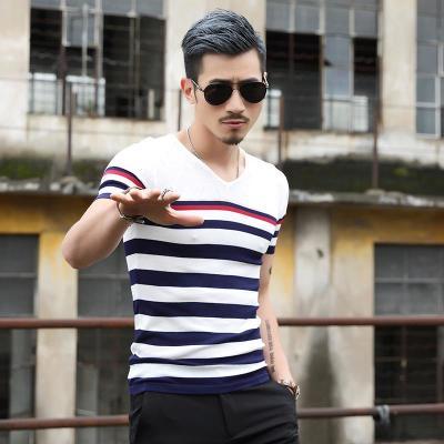 201新款男短袖毛衣线衫薄款韩版潮男冰丝t恤 v领针织衫修身线衣版