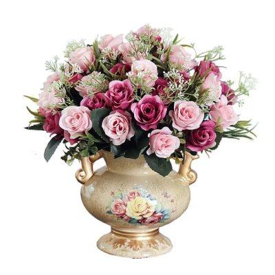 欧式客厅家居摆设盆栽套装饰品摆件室内餐桌茶几欧式花瓶摆件仿