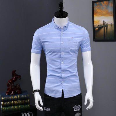 夏季薄款衬衫男短袖修身纯棉韩版帅气白寸衫休闲潮流青年男士衬衣