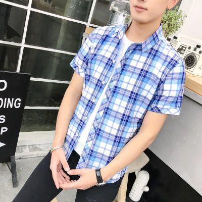 衬衫男短袖韩版潮流帅气修身学生薄款夏季半袖青少年时尚格子衬衣