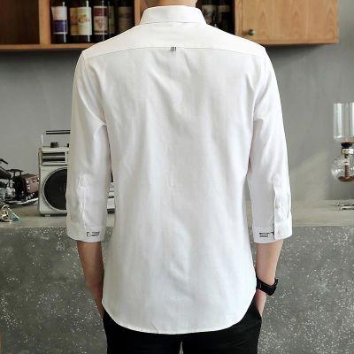 衬衫男短袖夏季薄款修身男士白衬衫韩版潮流白色七分袖衬衣帅气7