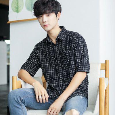 衬衫男短袖五分袖格子韩版潮流百搭夏季修身休闲衬衣宽松薄款上衣