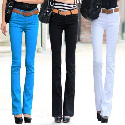 好品质】新款微喇叭裤女裤修身显瘦弹力韩版潮彩色休闲长裤子秋季