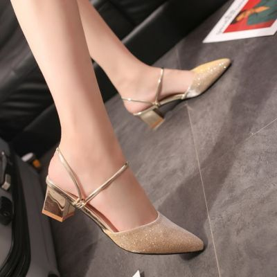 两穿凉鞋女夏2017新款尖头单鞋女金色银色宴会高跟鞋包头凉拖鞋