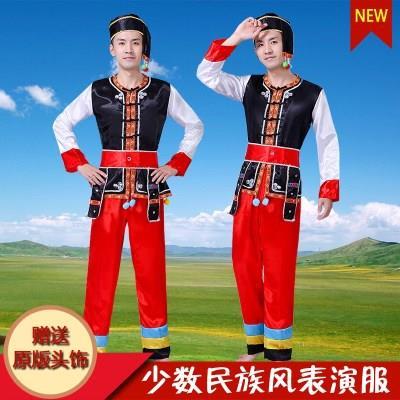 佤族族男装/苗族服装/云南少数民族舞蹈演出服装服饰/壮族服装