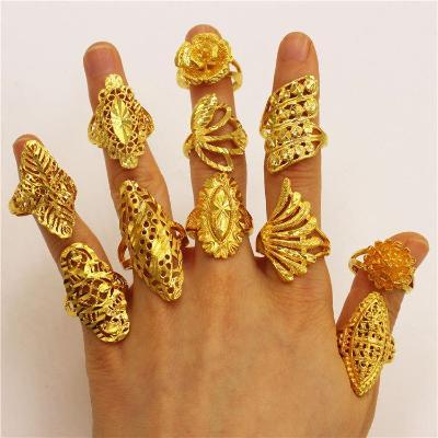 欧币金镀黄金色光泽可调节女戒花型戒指女款沙金戒指饰品首饰