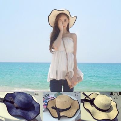 韩版蝴蝶结帽子户外女士沙滩帽夏天防晒遮阳帽草帽定制太阳帽批发
