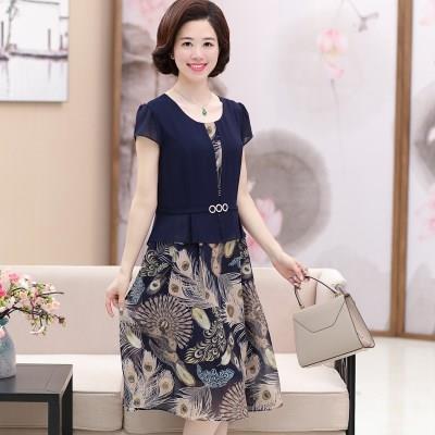 妈妈装连衣裙中年女夏季装30-50岁中老年女装高贵气质显瘦雪纺裙