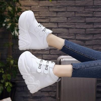 34码女鞋子2018春季新款小白鞋女内增高休闲鞋11cm超高跟坡跟韩版