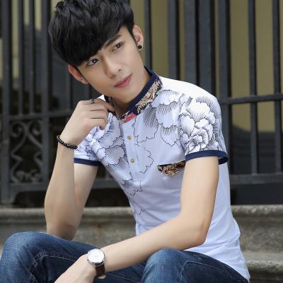 夏季纯青年修身立领短袖T恤男士时尚休闲短袖polo衫男体恤衫棉