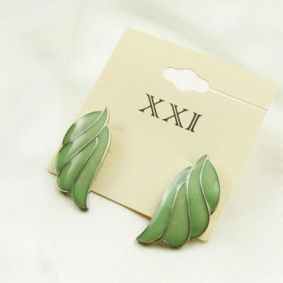 B54欧美外贸日韩小饰品精致型树叶滴釉耳钉耳饰