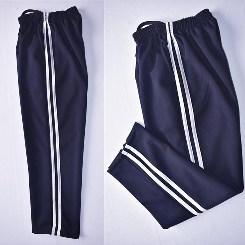 包邮春秋透气校服裤子藏蓝色两道白杠男女高中小学生运动长裤冬季