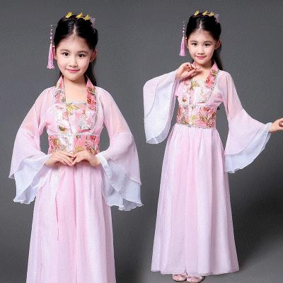 新款儿童汉服女夏季女童公主抹胸拖尾长裙红色贵妃皇后服装古装