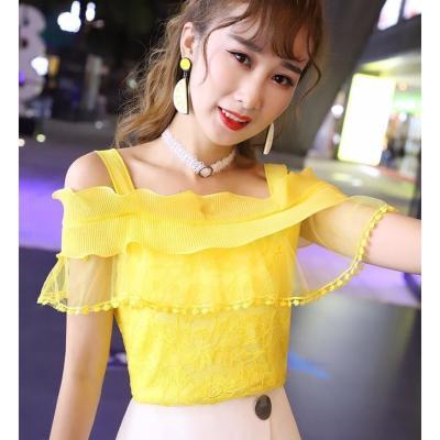 超仙2020夏女装一字领露肩雪纺上衣修身甜美荷叶边百搭吊带蕾丝衫