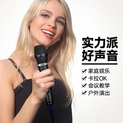 家庭ktv专用舞台有线话筒户外音响家用卡拉ok唱歌动圈有线麦克风