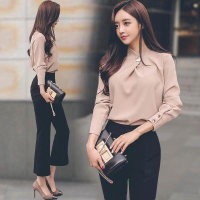 时尚端庄大气小香风职业装2018春装新款女衬衫西裤长袖两件套套装