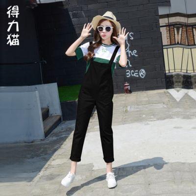 套装淼淼吊带款风两件套新款韩版件套配牛仔背带裤套装女胖妹裤带